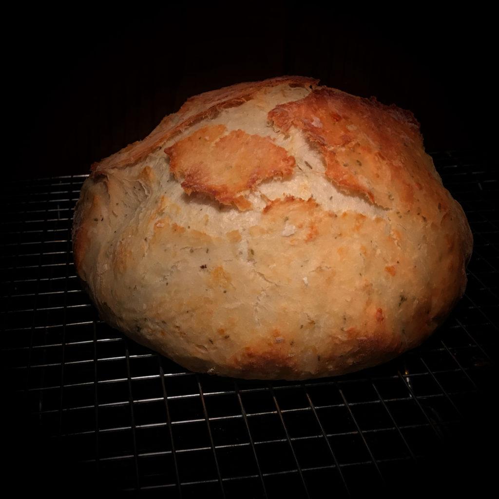 No Knead Italian Herb and Parmagiano Reggiano Bread
