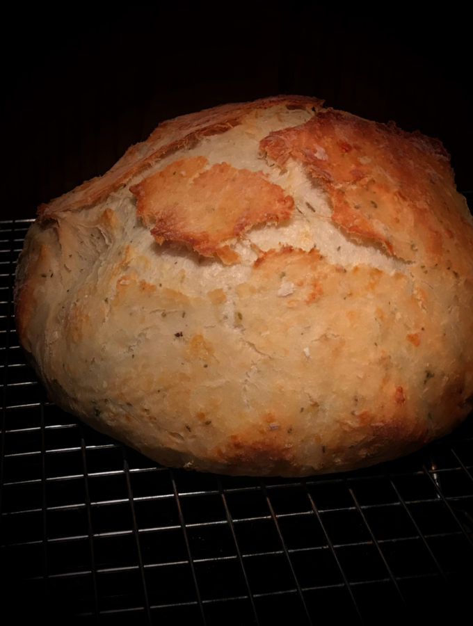 No Knead Italian Herb and Parmagiano Reggiano Bread